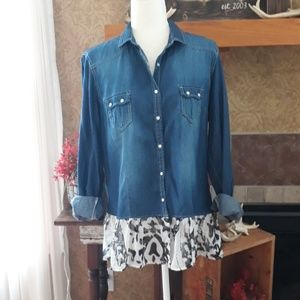 Snap Front Chambray Button Down with a Ruffle